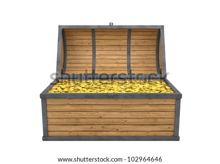 Trunk full of gold isolated with clipping path - stock photo