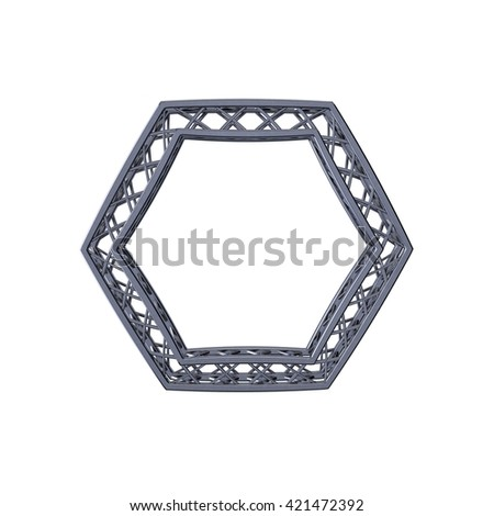 Truss frame in form of hexagon. Isolated on white background.3D rendering illustration. - stock photo