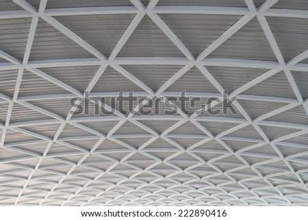 Truss roof interior. - stock photo
