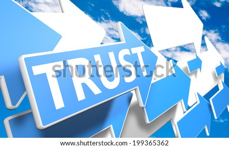 Trust 3d render concept with blue and white arrows flying in a blue sky with clouds - stock photo