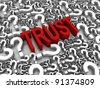 TRUST 3D text surrounded by question marks. Part of a series. - stock photo