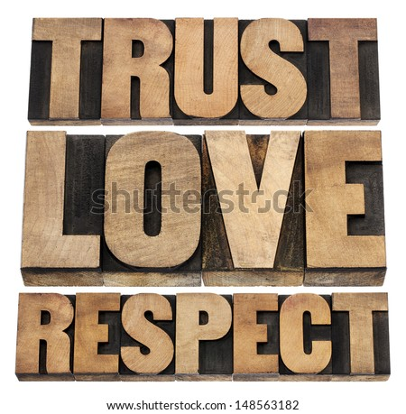 trust, love and respect word abstract - isolated text in vintage letterpress wood type