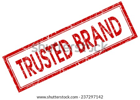 trusted brand red square stamp isolated on white background - stock photo