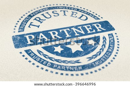 Trusted partner mark imprinted on a paper texture. Concept background for illustration of trust in partnership and business services. - stock photo