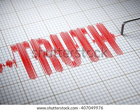 Truth concept.  Closeup of a polygraph lie detector with text. 3d illustration - stock photo