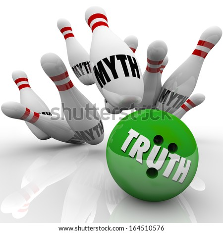 Truth vs Myths Bowling Ball Striking Pins  - stock photo