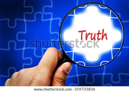 truth word. Magnifier and puzzles. - stock photo