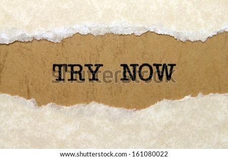 Try now - stock photo