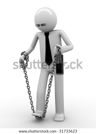 Trying to break phone addiction! Man chained with mobile phone 4 - stock photo