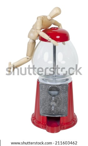Trying to open a Vintage metal and glass gumball machine - path included - stock photo
