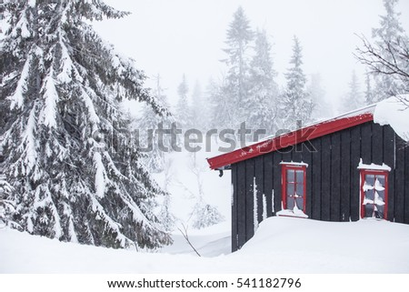 TRYSIL, NORWAY, FEBRUARY 2015, a black painted wooden cottage in a snow-covered landscape on a cold winter day.