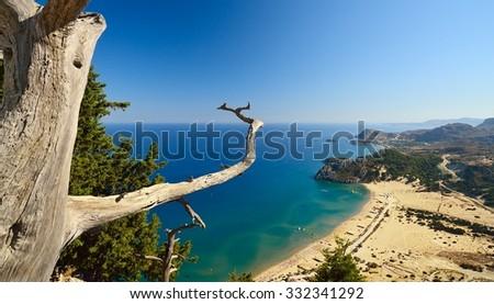 Tsambika beach on Rhodos. Greece. - stock photo