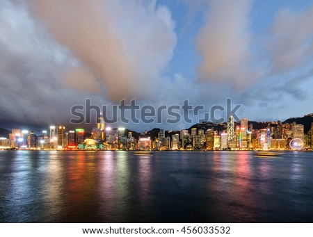 TSIM SHA TSUI , HONG KONG - JUNE 30 : A Symphony of Lights is a lights and sound show by the building in Hong Kong Island on June 30 2016. It is the largest lights show by  Guinness World Record.