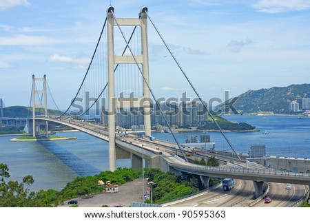 Tsing Ma Bridge, landmark bridge in Hong Kong - stock photo
