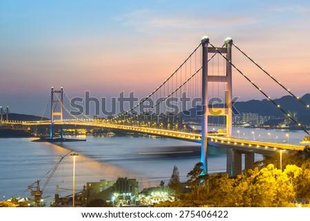 Tsing ma Bridge light-up in Hong Kong. - stock photo