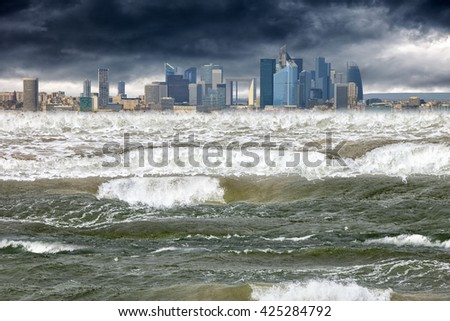 Tsunami disaster that struck in modern city. - stock photo