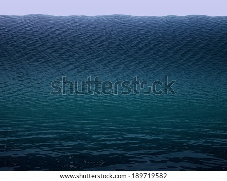 Tsunami huge wave in ocean - stock photo