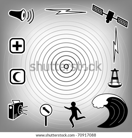 Tsunami Icons. Earthquake epicenter, tidal wave, siren, radio, emergency aid services, tsunami detection buoy, satellite & transmission, fleeing person, evacuation sign. Black on gradient background. - stock photo