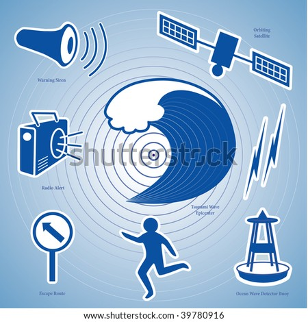 Tsunami Icons: Epicenter, ocean waves, siren, radio, ocean wave detection buoy, satellite and transmission, fleeing person and evacuation route sign. - stock photo