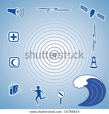 Tsunami Icons, Epicenter, siren, radio, cross and crescent emergency aid icons, tsunami detection buoy, satellite and transmission, fleeing person, evacuation sign, tidal wave. - stock photo
