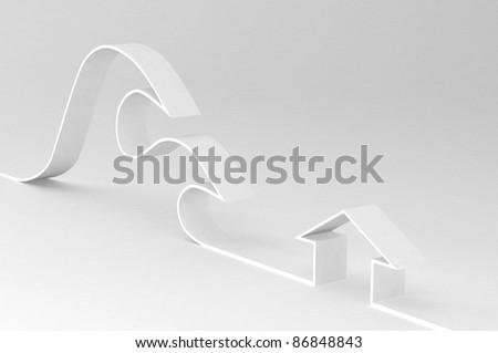 tsunami sign - stock photo