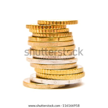 Ttack of coing gold and silver isolated against white background