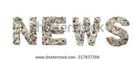 tthe word NEWS mad from newspaper confetti - stock photo