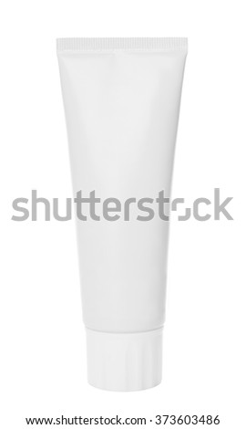 Tube for cream or toothpaste on a white background - stock photo