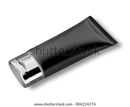 Tube Of Cream or Gel BLACK plastic product isolated on white, clipping path