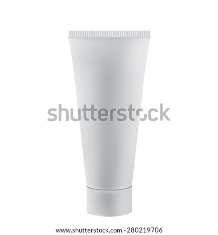 Tube Of Cream Or Gel white plastic product - stock photo
