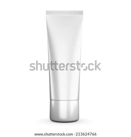 Tube of cream white isolated on a white background. 3d render image.