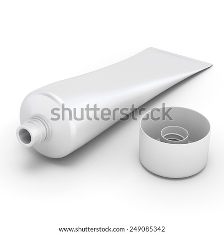 Tube of toothpaste isolated on white background. 3d render image. - stock photo