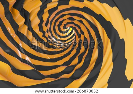 Tube or swirl making black and orange background in 3D - stock photo