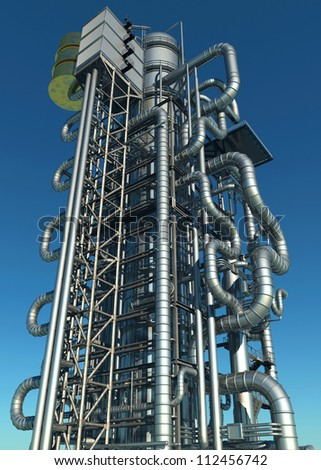 Tubes of actory in the sky. - stock photo