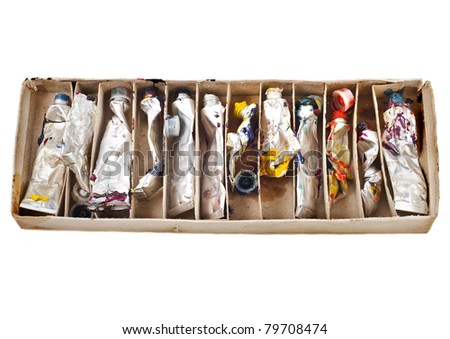 Tubes of oil paint in the  box - stock photo