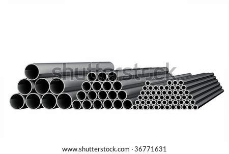 Tubes on lager isolated on white - stock photo
