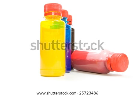tubes with color inks isolated on white background