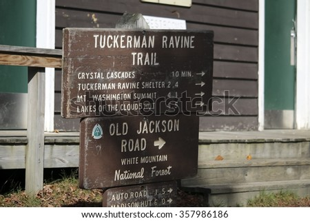 Tuckerman Ravine trail - stock photo