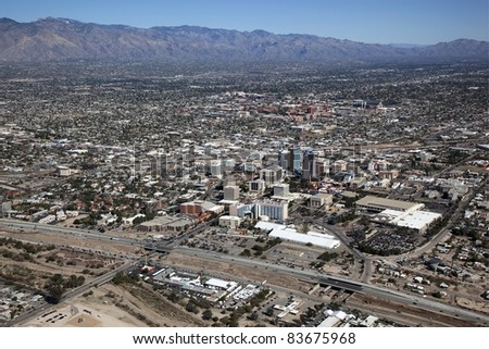 Tucson, Arizona along with Interstate 10 from above - stock photo