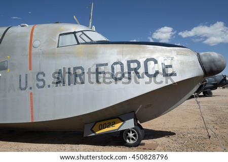 Tucson, USA - April 25, 2016: Grumman HU-16A aircraft bow in the Pima Air & Space Museum