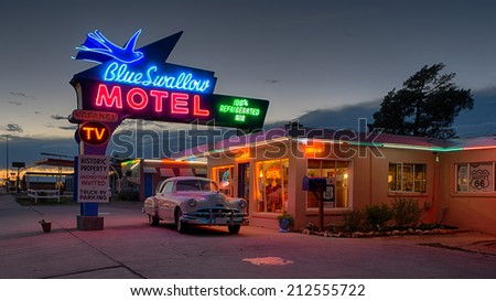 TUCUMCARI, NEW MEXICO - AUGUST 8: Historic Blue Swallow Motel on Tucumcari Boulevard (Route 66) on August 8, 2014 in Tucumcari, New Mexico - stock photo