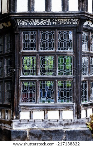 Tudor bay window built by Rycharde (Richard) Dale in the sixteenth century. - stock photo