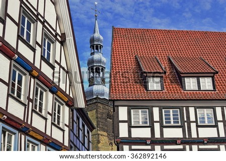 Tudor Style and St. Peter's Church - stock photo
