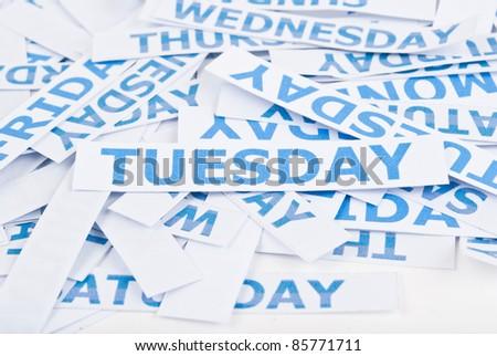 Tuesday word texture. - stock photo