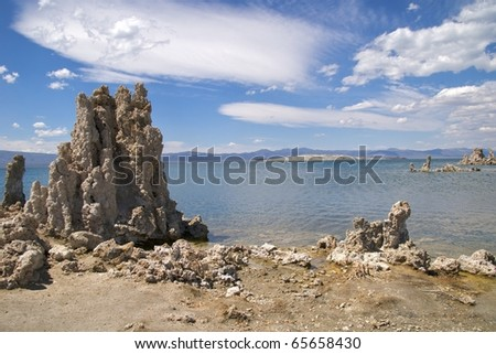 Tufa towers in Mono Lake Tufa State Nature Reserve against dramatic sky