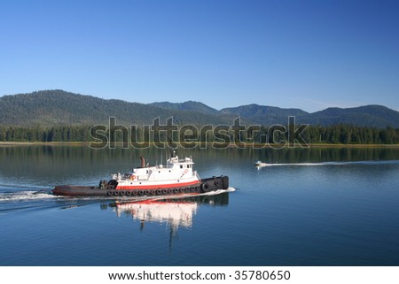 Tug Boat in the Wrangell Narrows of Alaska - stock photo