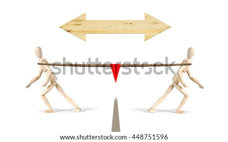 Tug of war. Two men pull a rope in different directions. Abstract image with wooden puppets - stock photo