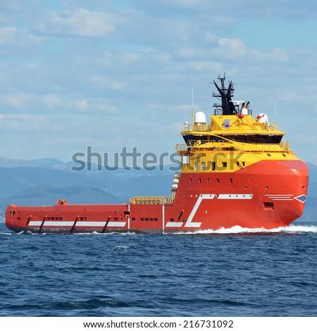 Tug ship. Collection of yachts and ships - stock photo