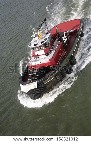 Tugboat on River boat - stock photo