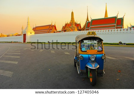 Tuk tuk for passenger cars. To go sightseeing in Bangkok. - stock photo